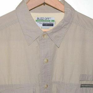 EXOFFICIO Large BUZZ OFF Tan Long Sleeve Button